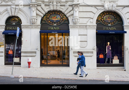 Prada shop in Avenida da Liberdade, Lisbon, Portugal. - Stock Photo