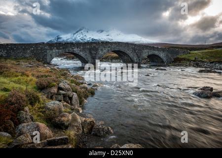Sgurr nan Gillean from Sligachan landscape photograph on the isle of Skye, Scotland. - Stock Photo