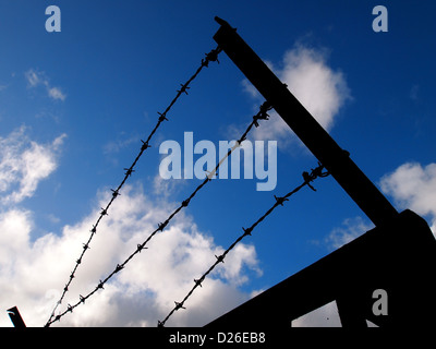 A barbed wire fence silhouetted against a blue sky. - Stock Photo