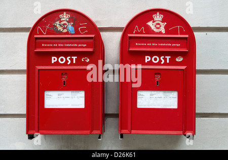 Copenhagen, Denmark, two red letter boxes next to each other - Stock Photo