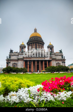 Saint Isaac's Cathedral (Isaakievskiy Sobor) in Saint Petersburg, Russia in the morning - Stock Photo