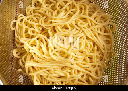 cooked fresh lo mein noodles. AKA ramen and saimin - Stock Photo
