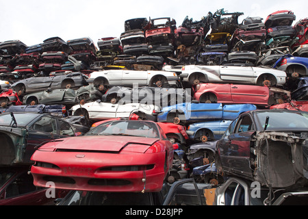Ruhr, Germany, over stacked cars in a junkyard - Stock Photo