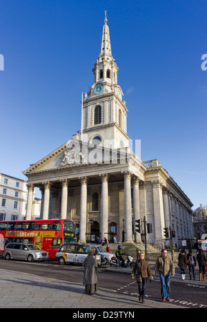 St Martin-in-the-Fields church in Trafalagar Square, London, England, UK - Stock Photo