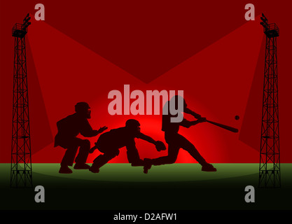 Baseball Tower Floodlight Promotional Poster Illustration - Stock Photo