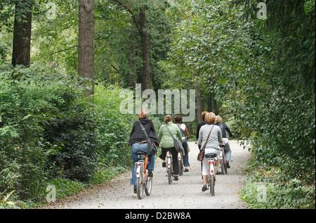 Berlin, Germany, cyclists in the Tiergarten - Stock Photo