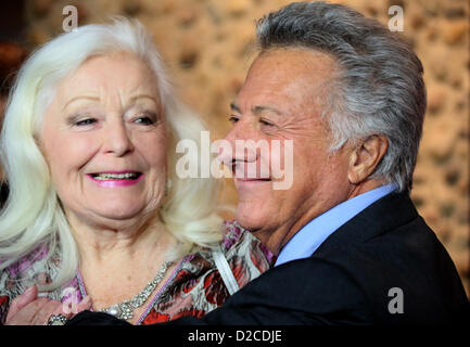 US actor and director Dustin Hoffman and protagonist and opera singer Gwyneth Jones arrive for the premiere of his - Stock Photo