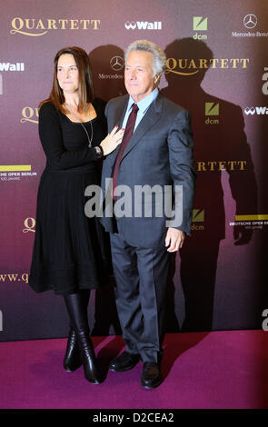US actor and director Dustin Hoffman and his wife Lisa arrive for the premiere of his new movie 'Quartet' at Deutsche - Stock Photo