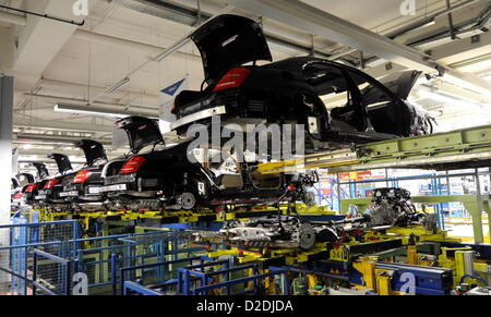 S-Class vehicles of the Mercedes Benz branch of the automobile concern Daimler from Stuttgart are assembled at the - Stock Photo