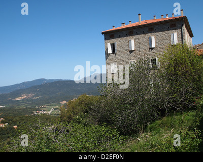 An interesting house on a hill in Corsica - Stock Photo