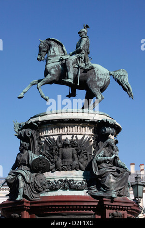 Nicholas I Monument in St Isaac's Square. Saint Petersburg. Russia. - Stock Photo