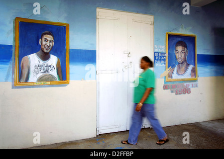 USVI born NBA players Raja Bell & Tim Duncan on the wall to Harvey's Restaurant, Christiansted, St. Croix, US Virgin - Stock Photo