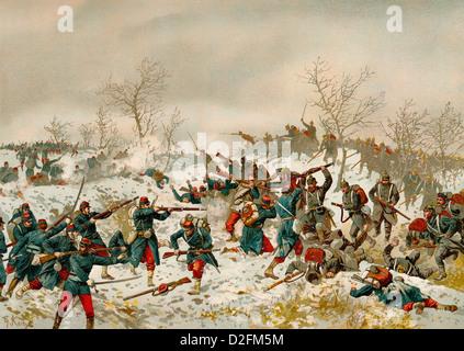 Battle of Le Mans or Bataille du Mans, 11 January 1871, Franco-Prussian War or Franco-German War, 1870-1871, between - Stock Photo