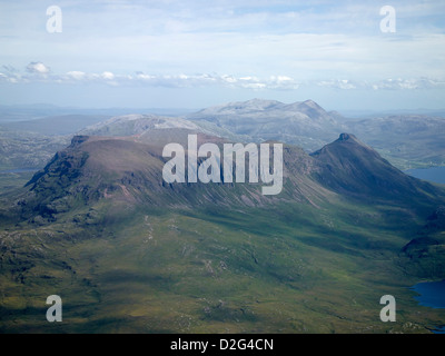 Quinag, a mountain in Sutherland, North West Scotland, shot from the air on the north coast 500 route - Stock Photo