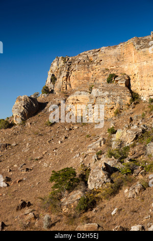 Madagascar, Parc National de l'Isalo, rocky sandstone outcrop at edge of park - Stock Photo