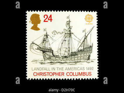 Christopher Columbus, the Santa Maria, GB stamp, 500th anniversary  the discovery of America in 1492 - Stock Photo