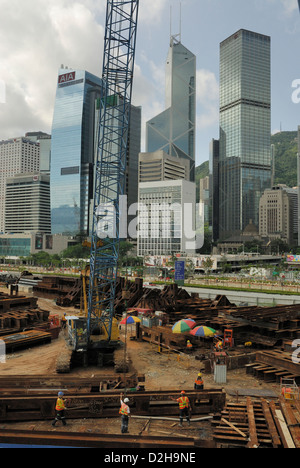 Steel girder construction site located near The Pier, Hong Kong Central District, China. - Stock Photo
