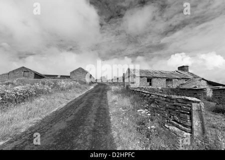 Abandoned village on Orkney island of Westray - Stock Photo