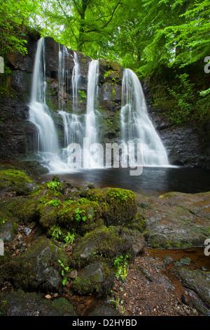 Ess-Na-Crub Waterfall, Glenariff Forest Park, County Antrim, Northern Ireland. - Stock Photo