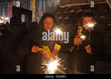 Poznan, Poland, teenagers at the annual benefit concert for needy children - Stock Photo