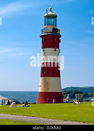 Smeatons Tower, upper part of Smeatons Eddystone Lighthouse built in 1759 on Eddystone Rocks, Plymouth Hoe, Devon, - Stock Photo