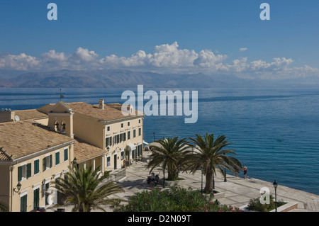 Sea view over a sea side cafe from Corfu Town, Corfu Island, Ionian Islands, Greek Islands, Greece, Europe - Stock Photo
