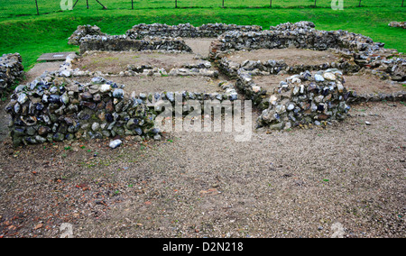 A view of excavated remains of a Roman town at Caister-on-Sea, Norfolk, England, United Kingdom. - Stock Photo