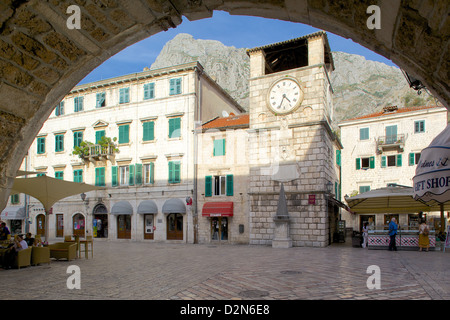 Old Town Clock Tower, Old Town, UNESCO World Heritage Site, Kotor, Montenegro, Europe - Stock Photo