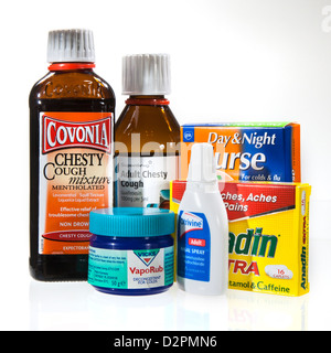 Cough, cold and flu remedies including cough mixture, nasal spray, day and night nurse, vicks and anadin - Stock Photo