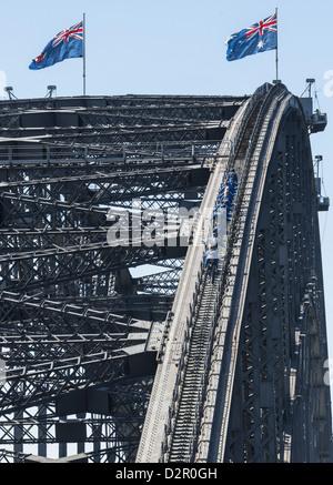 People walking on Sydney Harbour Bridge, Sydney, New South Wales, Australia, Pacific - Stock Photo
