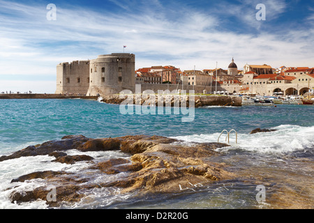 Dubrovnik Old Town City, view at Harbour, Croatia - Stock Photo