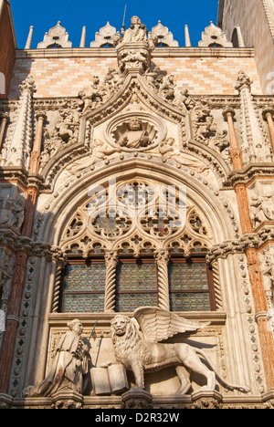 Exterior of Palazzo Ducale (Doges Palace), Piazza San Marco (St. Mark's Square), Venice, Veneto, Italy - Stock Photo