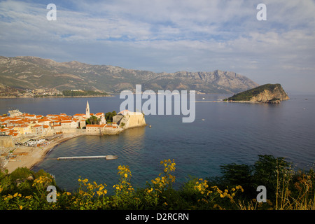 View of Old Town, Budva, Montenegro, Europe - Stock Photo