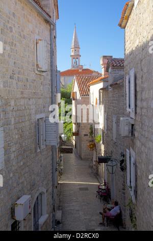Narrow street in the Old Town, Budva, Montenegro, Europe - Stock Photo