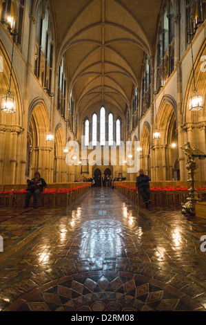 Vertical interior view of Christ Church Cathedral in Dublin. - Stock Photo