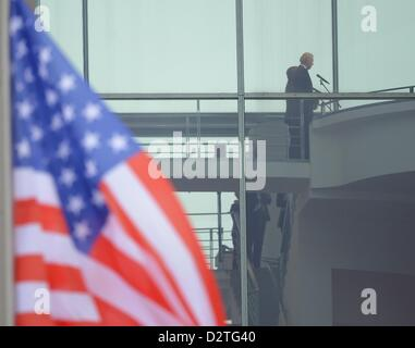 German Chancellor Angela Merkel (CDU) receives US Vice President Joe Biden at the Federal Chancellery in Berlin, - Stock Photo