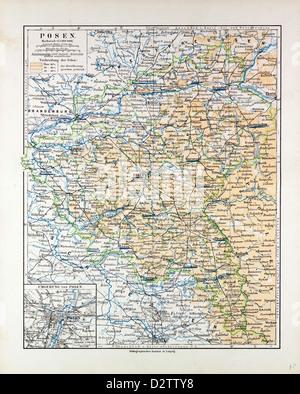 MAP OF POSEN (POZNAN) POLAND 1899 - Stock Photo