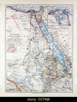 MAP OF EGYPT SUDAN 1899 - Stock Photo