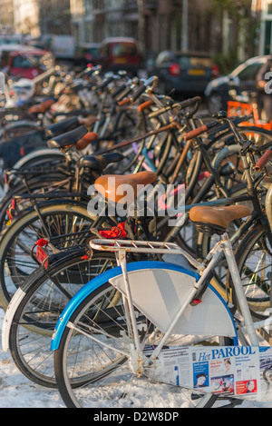 Amsterdam bicycles in a row. - Stock Photo