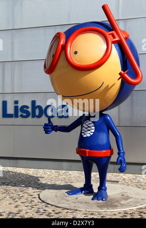 Vasco the mascot of Lisbon's Oceanarium (Oceanario de Lisboa) in Lisbon, Portugal. - Stock Photo