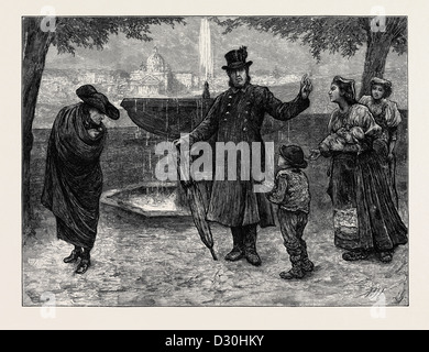 A ROMAN CARDINAL AND HIS FOOTMAN, ON THE PINCIAN - Stock Photo