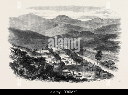 THE SUTHERLANDSHIRE GOLD DIGGINGS: BAILE 'N OIR KILDONAN 1869 - Stock Photo