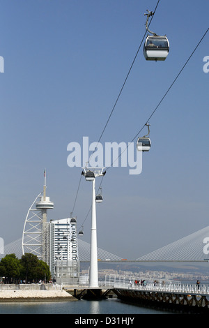 Teleferico Cable Cars, Vasco da Gama Tower, Parque das Nações, Lisbon, Portugal, Europe - Stock Photo