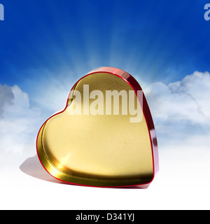 Heart Shaped Red metal Box - Stock Photo