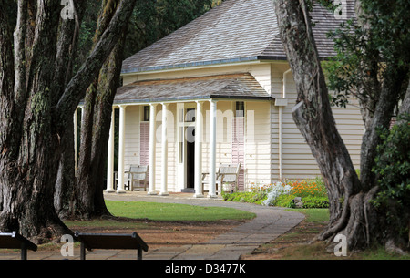 The treaty house at the Waitangi Treaty Grounds in Waitangi - Stock Photo
