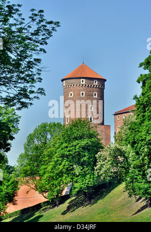 Sandomierska Tower at Wawel Castle in Cracow, Poland - Stock Photo