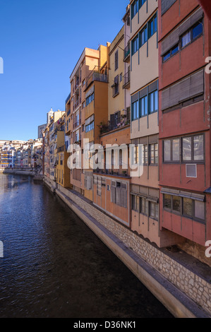 Colorful houses along the Onyar river in Girona, Catalonia, Spain - Stock Photo