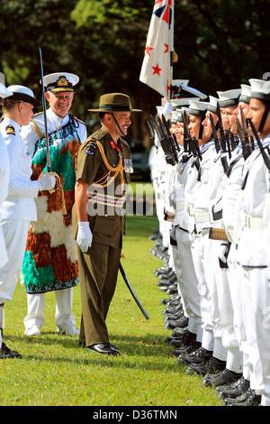 Royal New Zealand Navy inspection at the Waitangi Treaty Grounds during Waitangi Day celebrations. - Stock Photo