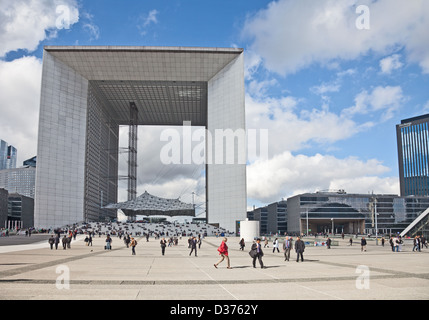 Editorial photo of visitors to and workers in La Defense business area in west-central Paris in front of La Grande - Stock Photo