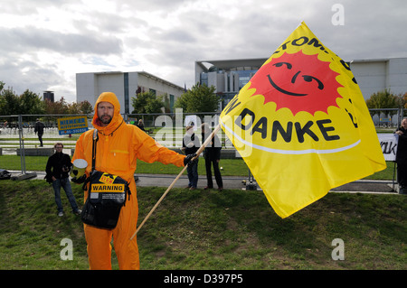 Berlin, Germany, people at an anti-nuclear demonstration in the government district - Stock Photo
